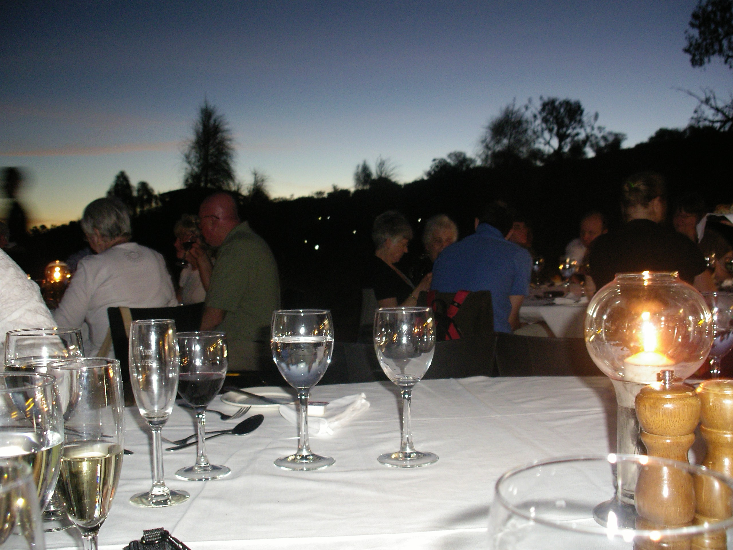 of what it was like eating dinner under the stars