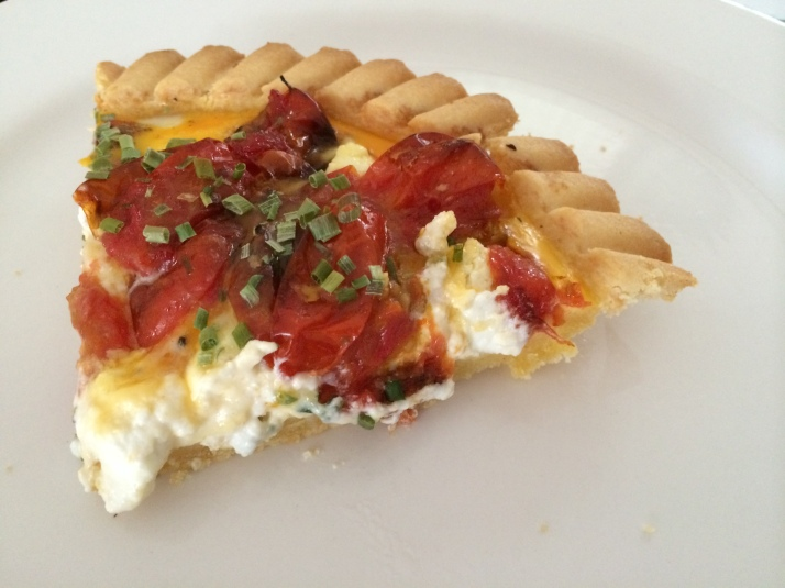 Tomato and goats cheese tart - cooked