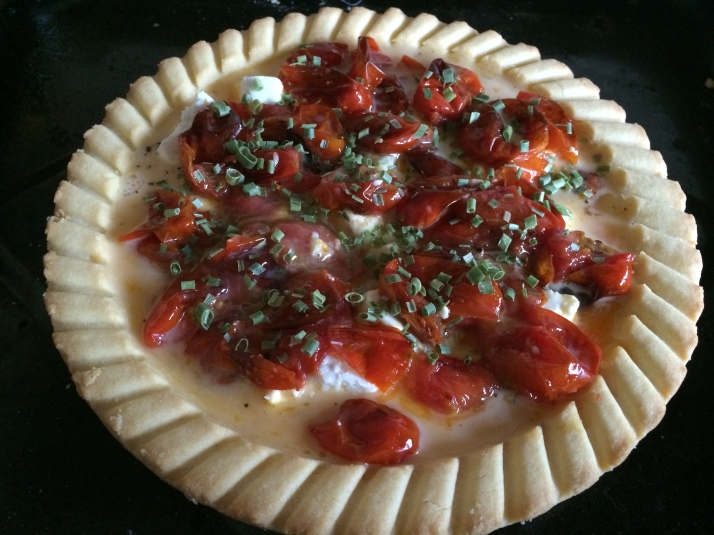 Tomato and goats cheese tart - uncooked